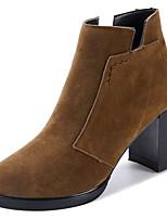 Недорогие -Жен. Обувь Нубук Кожа Зима Осень Удобная обувь Модная обувь Ботинки На толстом каблуке Круглый носок Ботинки для Повседневные Черный