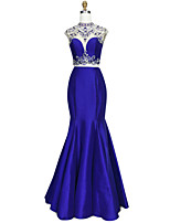 cheap -Ball Gown Mermaid / Trumpet High Neck Satin Chiffon Graduation Prom Dress with Beading Crystal Detailing Embroidery by TS Couture®