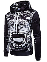 cheap -Men's Daily Casual Check Portrait Hooded Hoodie Regular, Long Sleeves Winter