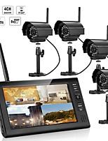 preiswerte -7 Zoll tft digitale 2.4g drahtlose Kameras Audio Video Babyphone 4ch Quad DVR Sicherheitssystem mit IR Nachtlicht vier Kameras