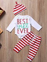 cheap -Baby Unisex Daily Sports Striped Clothing Set, Cotton Spring Fall Cute Casual White