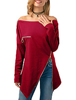 cheap -Women's Club Sexy Winter T-shirt,Solid Boat Neck Long Sleeve Polyester Spandex
