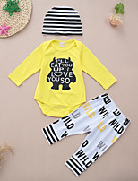 cheap -Baby Unisex Daily Sports Print Clothing Set, Cotton Spring Fall Cute Casual Yellow