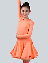cheap -Latin Dance Dresses Girls' Performance Spandex Ruching Long Sleeves Dress