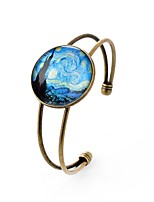 cheap -Men's Women's Cuff Bracelet , Classic Heart Glass Alloy Circle Jewelry Party Date