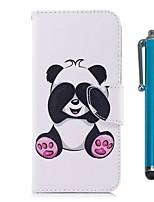 Недорогие -Кейс для Назначение Apple iPhone X iPhone 8 Plus Бумажник для карт Кошелек со стендом Флип Магнитный Чехол Панда Твердый Кожа PU ТПУ для