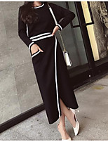 cheap -Women's Daily Going out Simple Round Neck Skirt Long Sleeves Spring Summer