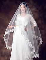 cheap -One-tier Lace Applique Edge Bridal Wedding Wedding Veil Chapel Veils 53 Fringe Splicing Lace Tulle