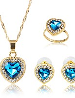 cheap -Women's Gold Plated Jewelry Set 1 Necklace 1 Ring Earrings - Classic Fashion Blue Jewelry Set Bridal Jewelry Sets For Wedding Engagement