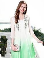 cheap -Women's Vintage Basic Chinoiserie Loose Dress - Color Block