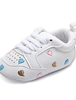 cheap -Girls' Shoes Leatherette Spring Fall Crib Shoes First Walkers Comfort Flats Gore for Casual Outdoor Rainbow Pink