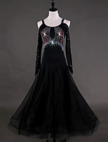 abordables -Danse de Salon Robes Femme Utilisation Chinlon Organza Cristaux/Stras Manches Longues Taille haute Robe