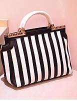 cheap -Women's Bags PU Cotton Tote Zipper for Casual All Seasons Black/White
