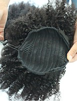 Недорогие -На клипсе Afro Kinky Волосы Наращивание волос 10 дюйм 12 дюйм 14 дюйм 16 дюйм Черный