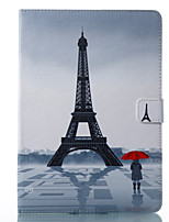 cheap -Case For Apple iPad 10.5 iPad (2017) Card Holder Wallet with Stand Pattern Auto Sleep/Wake Up Full Body Cases Eiffel Tower Hard PU Leather