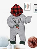 cheap -Baby Unisex Daily Sports Print One-Pieces,Cotton Spring Fall Simple Active Long Sleeve Gray