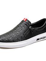 abordables -Hombre Zapatos PU Primavera Otoño Suelas con luz Zapatos de taco bajo y Slip-On para Casual Negro Borgoña