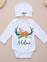 cheap -Baby Unisex Daily Sports Print One-Pieces, Cotton Spring Fall Simple Active White
