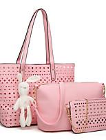 cheap -Women's Bags PU Bag Set 3 Pcs Purse Set Hollow-out for Shopping Office & Career All Seasons Blue White Black Blushing Pink