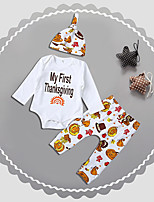 cheap -Baby Unisex Daily Sports Print Clothing Set, Cotton Spring Fall Cute Casual White