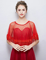 cheap -Sleeveless Polyester / Cotton Blend Wedding Party / Evening Women's Wrap With Lace-trimmed Bottom Capelets