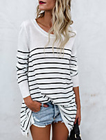 cheap -Women's Daily Simple Spring Fall T-shirt, Striped Round Neck Long Sleeves Cotton Polyester