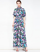 cheap -Women's Plus Size Cute Basic Boho Swing Dress - Floral Maxi Shirt Collar
