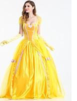 abordables -Princesse Echecs Belle Costume de Cosplay Bal Masqué Tous Halloween Fête / Célébration Déguisement d'Halloween Jaune Couleur Pleine