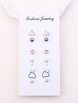 cheap -Women's 6 Pairs Stud Earrings Rhinestone Imitation Pearl Simple Fashion Copper Cross Triangle Circle Heart Jewelry Daily Costume Jewelry