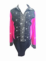 cheap -Figure Skating Top Men's Ice Skating Top Dark Pink Spandex Skating Wear Creative Rhinestone Fashion Long Sleeves Figure Skating