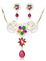 cheap -Women's Imitation Diamond Floral Jewelry Set Earrings - Floral Gold Jewelry Set Chain Necklace For Wedding Engagement