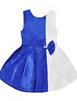 cheap -Girl's Daily Going out Color Block Dress, Polyester Summer Sleeveless Cute Light Green Royal Blue