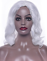 cheap -Synthetic Hair Wigs Wavy African American Wig Capless Party Wig Natural Wigs 14-17inch White