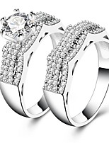 cheap -Women's Band Rings Cubic Zirconia Rhinestone 2pcs Vintage Elegant Silver Circle Jewelry Wedding Engagement Ceremony