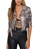Недорогие -Для женщин Повседневные Осень Кожаные куртки Рубашечный воротник,Уличный стиль Однотонный Короткая Длинные рукава,Полиуретановая