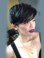 cheap -Straight Layered Haircut Pixie Cut Machine Made Human Hair Wigs Side Part Natural Black Medium Auburn Medium Auburn/Bleach Blonde
