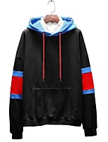 cheap -Men's Plus Size Hoodie - Color Block Hooded