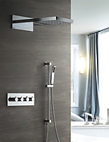 cheap -Contemporary Wall Mounted Waterfall Rain Shower Handshower Included Thermostatic Ceramic Valve Four Handles Four Holes Chrome, Shower