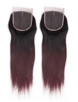 Недорогие -alimice pre цветные человеческие волосы с волосами 4 * 4 remy перуанские прямые волосы средние / свободные / три части кружево закрытие #