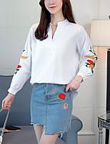 Недорогие -Жен. Вышивка Рубашка, V-образный вырез Полоски Контрастных цветов Фонарь рукавом