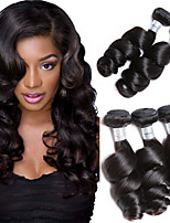 cheap -Brazilian Hair Loose Wave Human Hair Weaves 3pcs Natural Color Hair Weaves