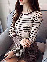 cheap -Women's Daily Work Simple Active Spring Fall T-shirt,Striped Round Neck Shirt Collar Long Sleeve Spandex