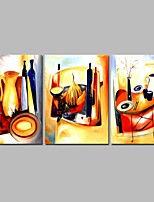 cheap -Oil Painting Hand Painted - Abstract Comtemporary Canvas Three Panels