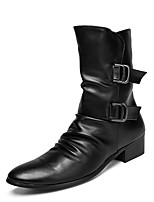 cheap -Men's Shoes Cowhide Spring Combat Boots Fashion Boots Boots Mid-Calf Boots Buckle for Casual Outdoor Black