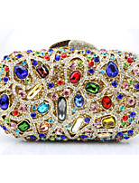 cheap -Women's Bags Glasses Metal Evening Bag Beading Appliques Crystal Detailing for Wedding Event/Party All Seasons Gold Silver Rainbow
