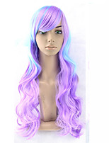 cheap -women synthetic wig capless long wavy ombre blue/ purple color with bangs cosplay lolita wig