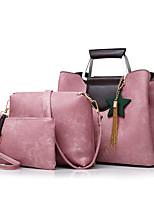 cheap -Women's Bags PU Bag Set 3 Pcs Purse Set Zipper for Casual Office & Career All Seasons Black Red Blushing Pink Gray Brown