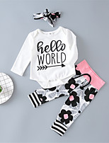 cheap -Baby Unisex Daily Sports Floral Print Clothing Set,Cotton Spring Fall Cute Casual Long Sleeve White