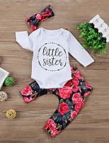 cheap -Baby Unisex Daily Sports Floral Clothing Set, Cotton Spring Fall Cute Casual White