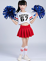 abordables -Costumes de Pom-Pom Girl Tenue Fille Entraînement Polyester Ruché Manches Courtes Taille basse Jupes Haut